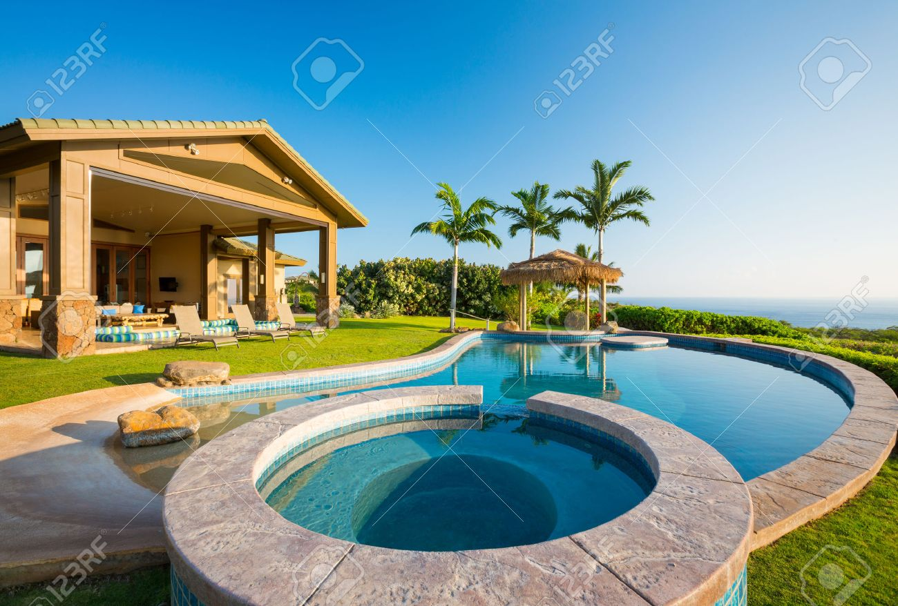 Luxury Home Swimming Pools luxury home with swimming pool stock photo, picture and royalty