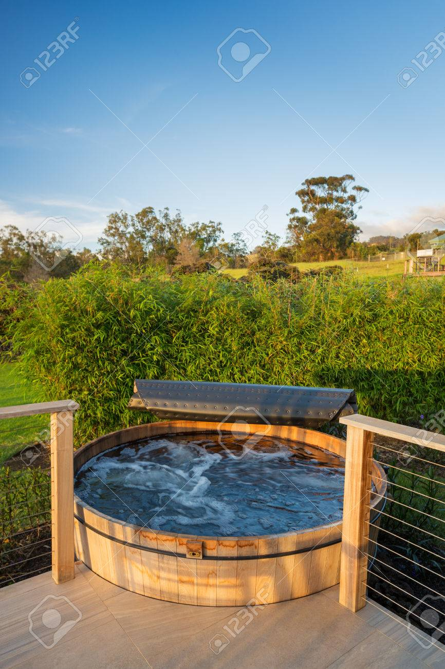 Beautiful Wooden Hot Tub Jacuzzi Outdoors On Deck Stock Photo ...