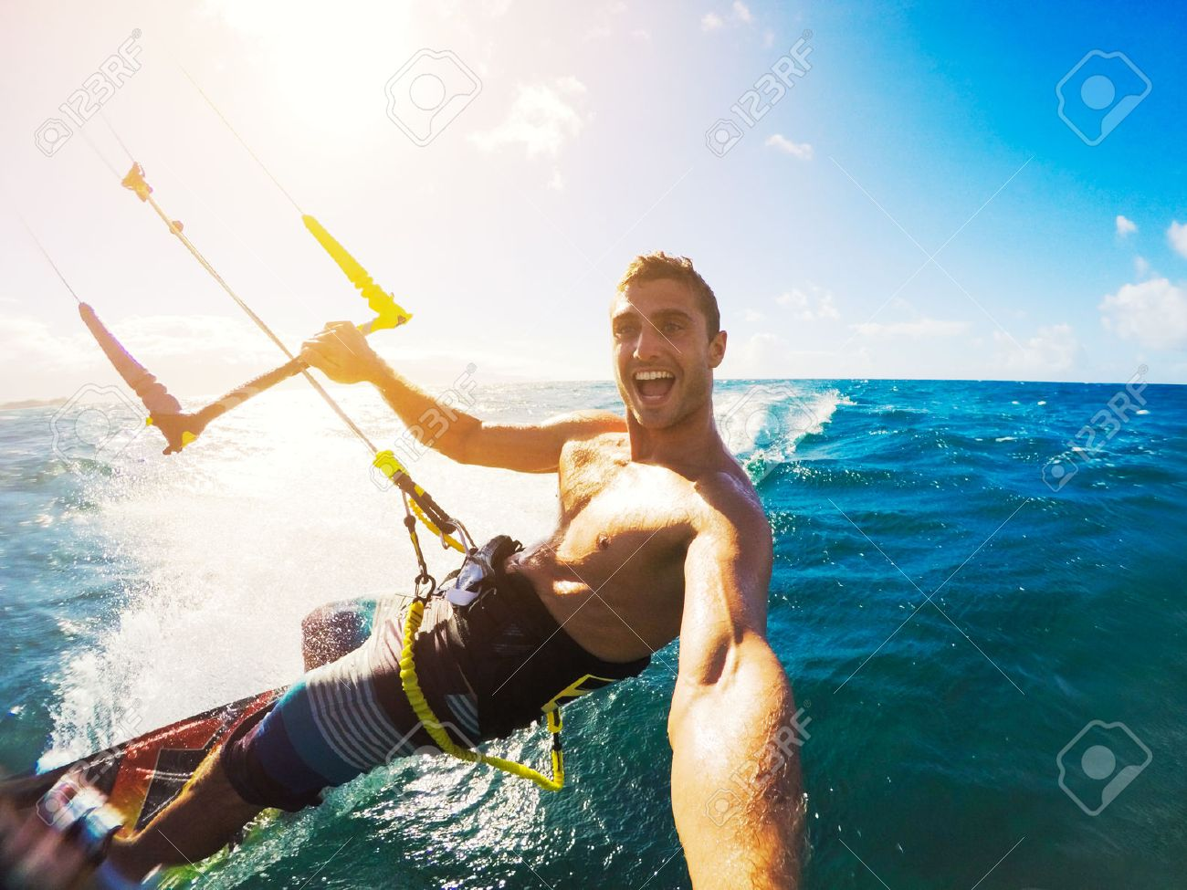 Kiteboarding. Fun in the ocean, Extreme Sport Kitesurfing. POV Angle with Action Camera Stock Photo - 43698734