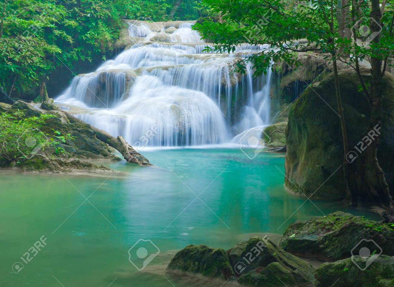 Blue stream waterfall at Erawan waterfall National Park Kanjanaburi Thailand Stock Photo - 17314459