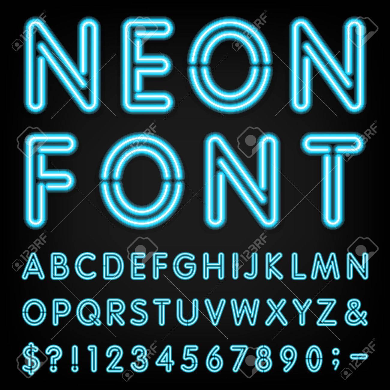 Neon Light Alphabet Font. - 40342030