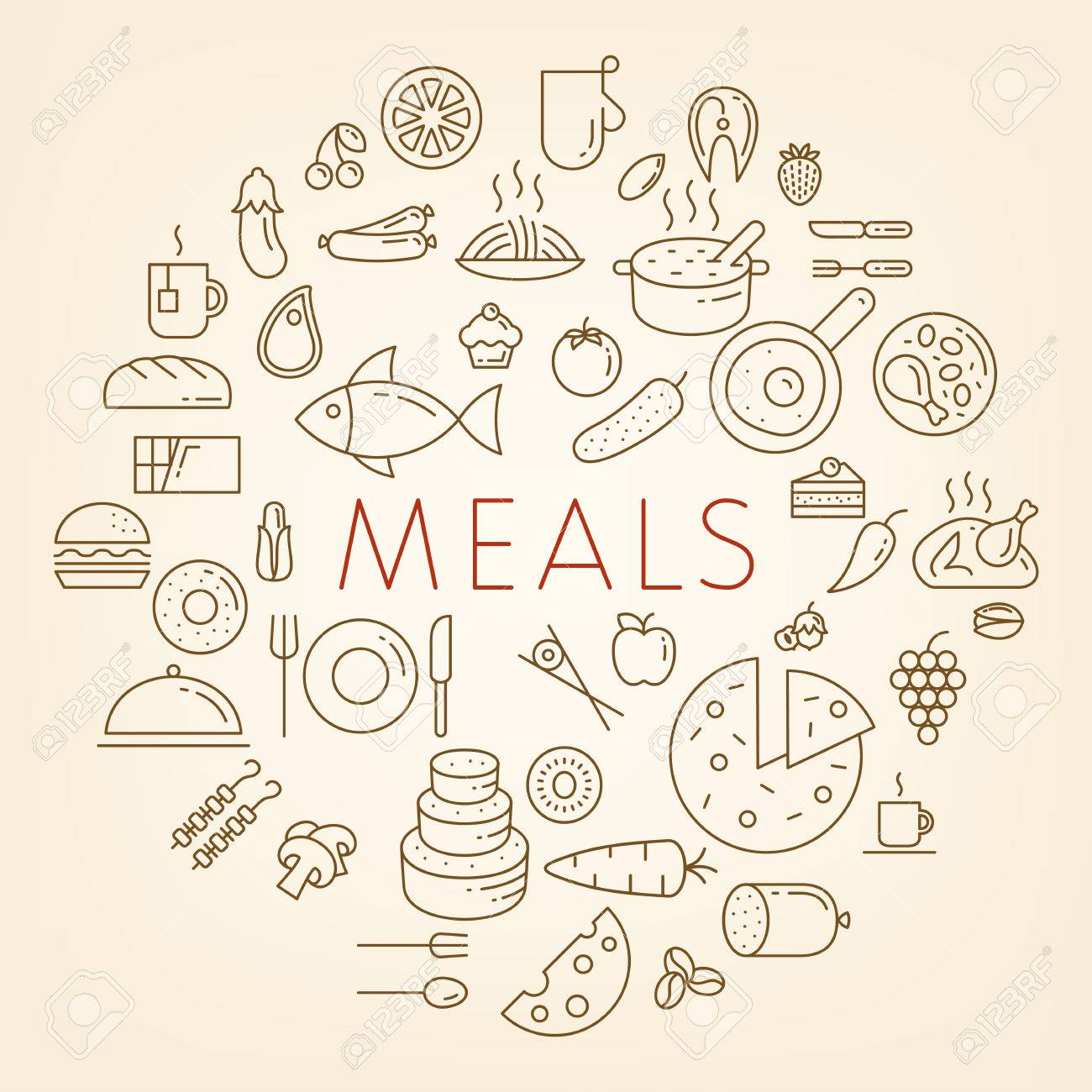outline food icons meals concept vector illustration line icons