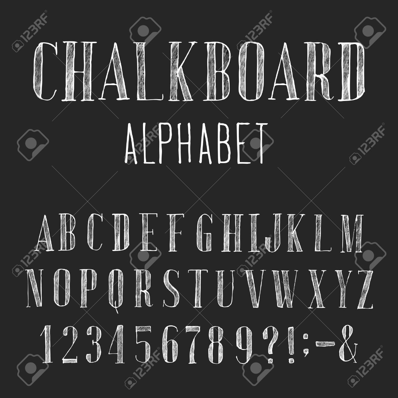 Hand Drawn Letters Chalkboard Alphabet Vector Font Type Numbers And Punctuation Marks Distressed Chalk Serif