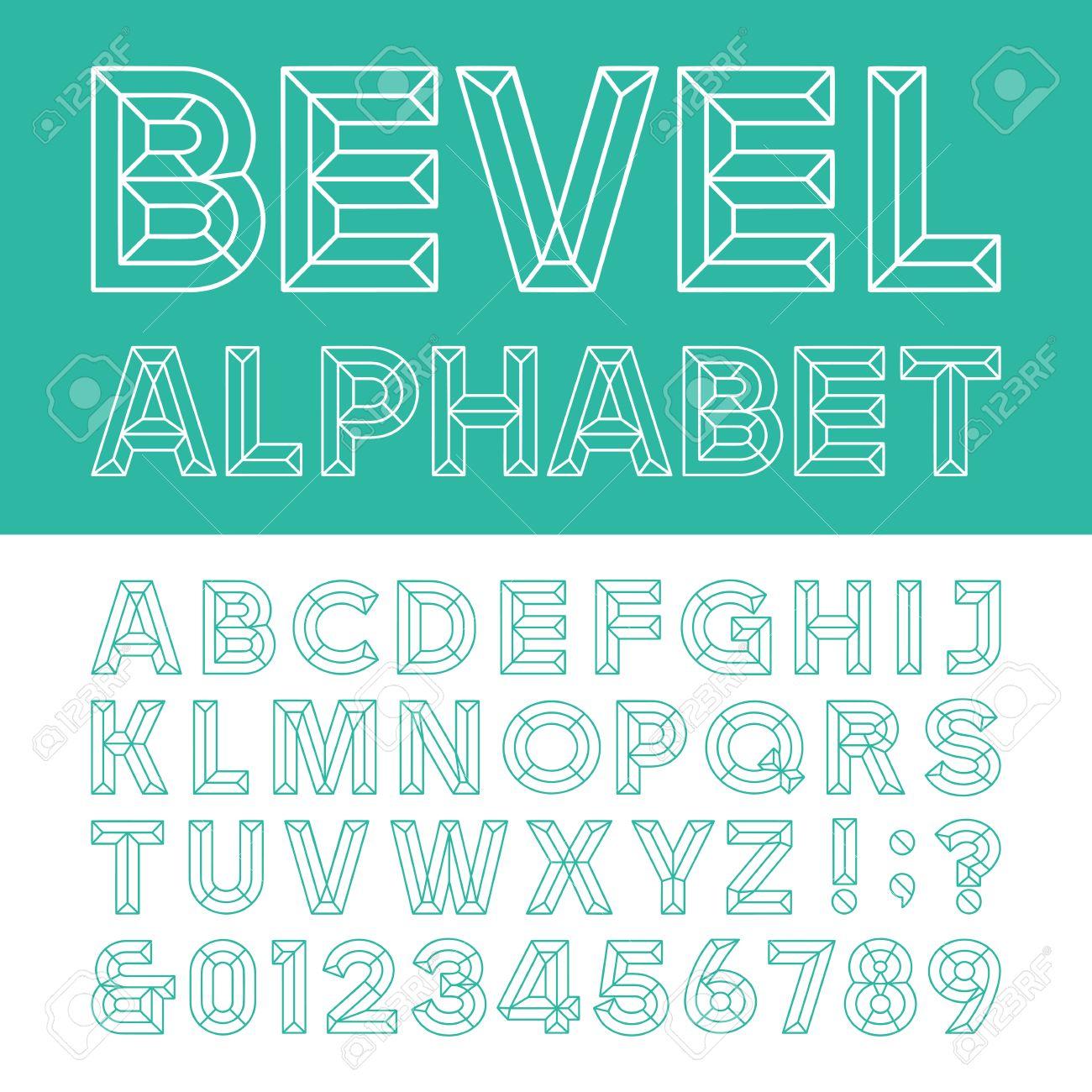 Beveled Alphabet Vector Font Beveled Block Outline Letters Numbers