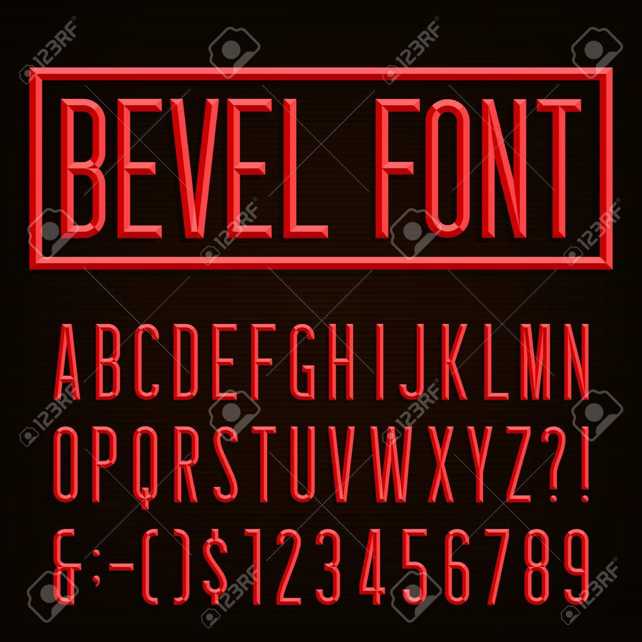 Retro Beveled Narrow Font Vector Alphabet Beveled Narrow Block
