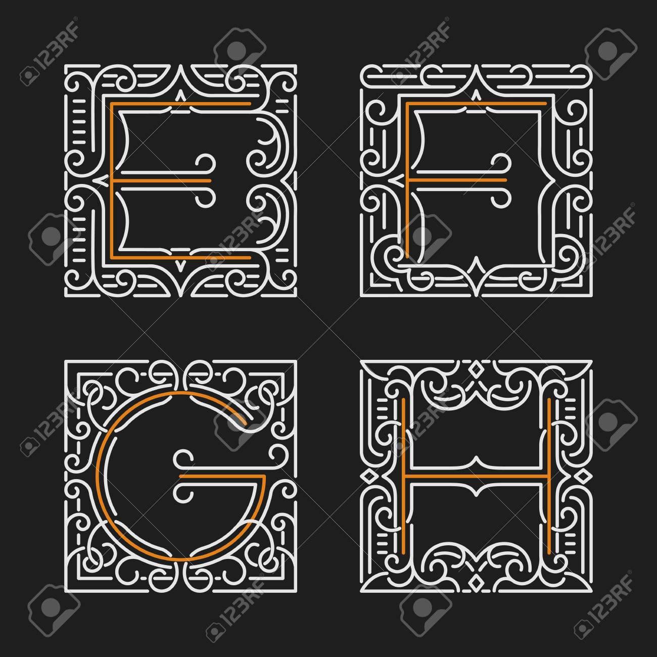 elegant letter furniture design. The Set Of Monogram Emblem Templates. Elegant Frames Ornament Design In Line Style With Letters Letter Furniture C