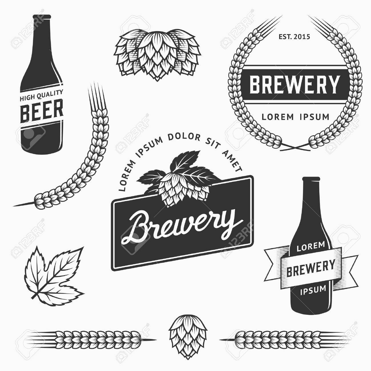 Vintage Set Of Brewery Logos Labels And Design Element Stock