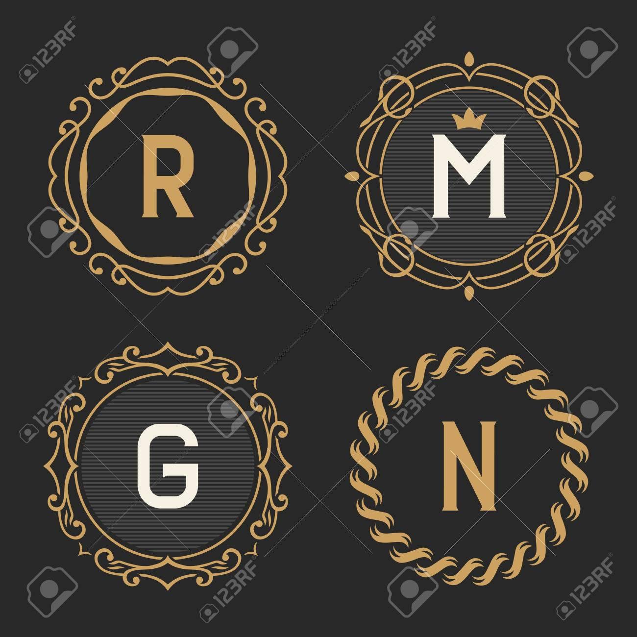The set of graceful vintage monogram emblem and logo templates the set of graceful vintage monogram emblem and logo templates stylish retro business sign pronofoot35fo Gallery