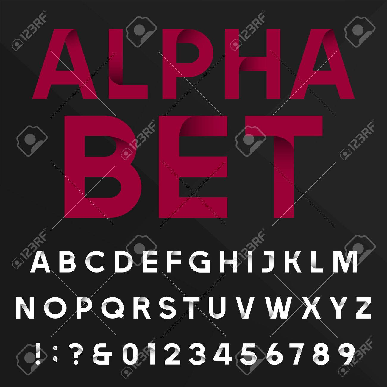 Decorative alphabet vector font  Sans serif type letters, numbers