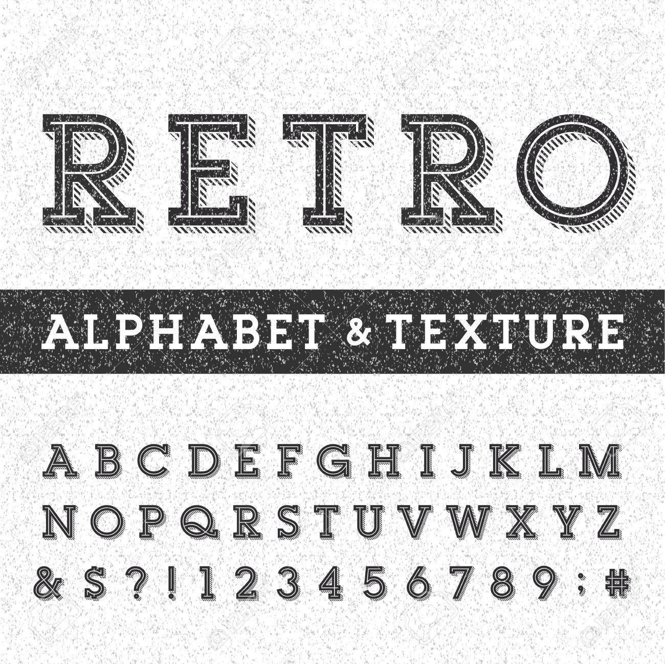 Retro alphabet vector font with distressed overlay texture - 43963501