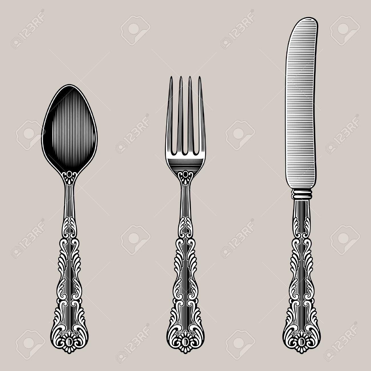 Antique Cutlery. Vector spoon fork and knife in vintage style from the Victorian period & Antique Cutlery. Vector Spoon Fork And Knife In Vintage Style ...