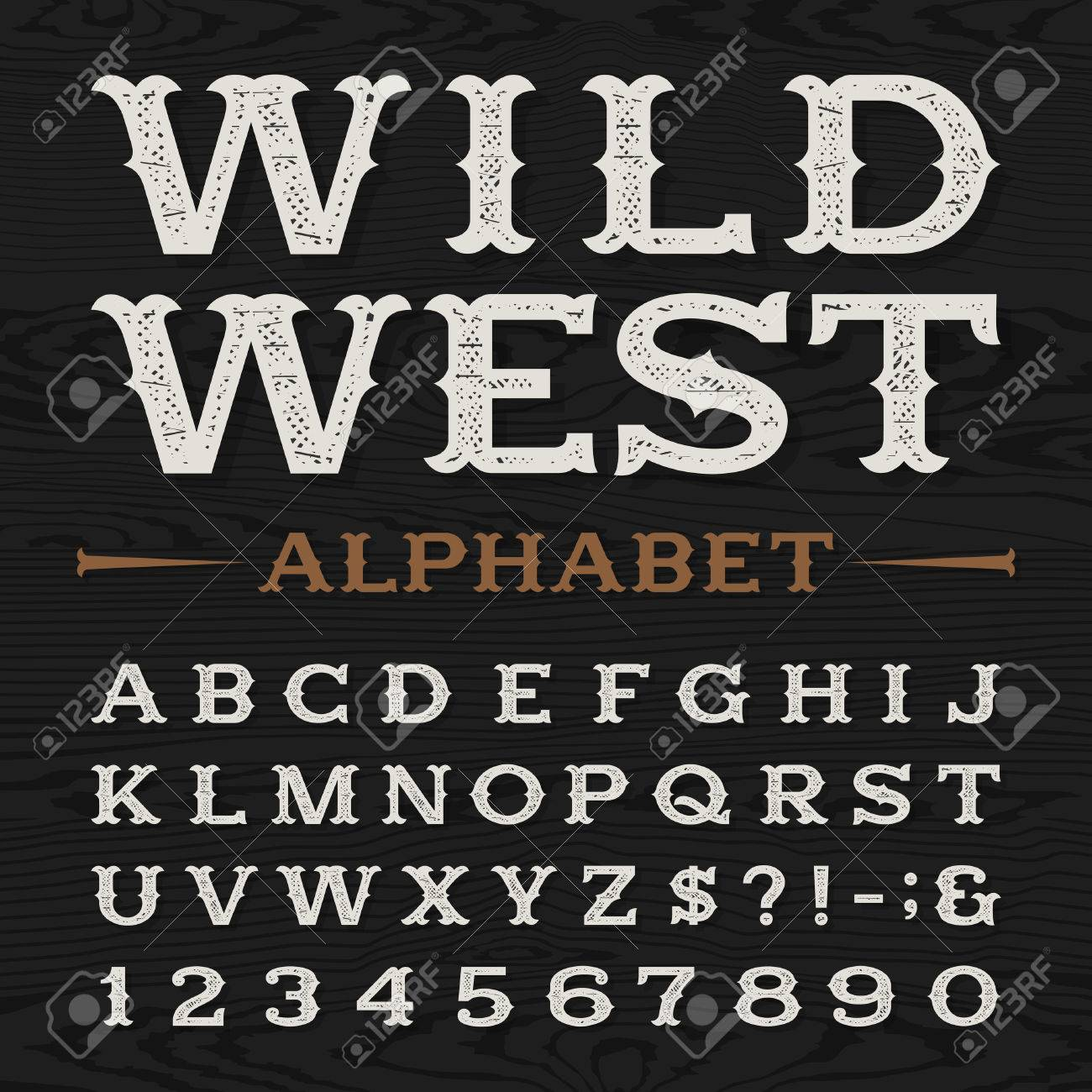 Western Style Retro Distressed Alphabet Vector Font. Serif Type