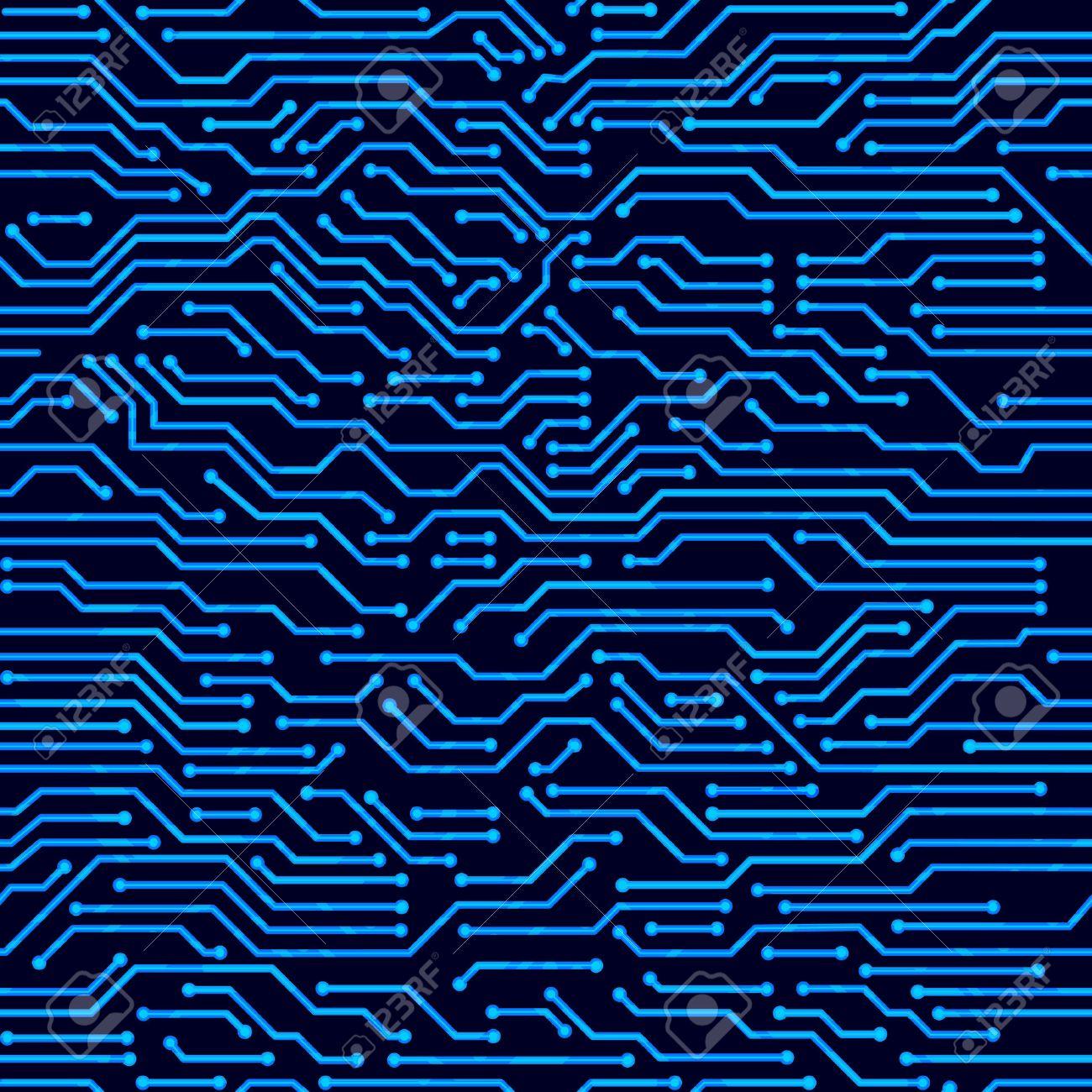 Circuit board seamless pattern. Digital hi-tech style vector background. - 44330265