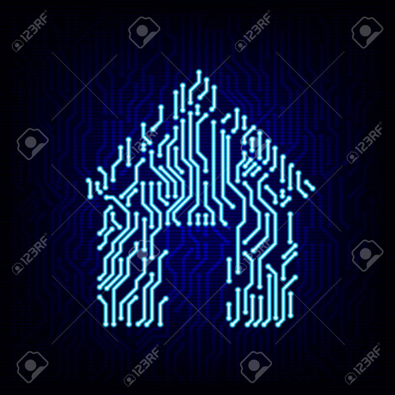 Smart Home Concept. Circuit Board House Logo Icon On The Digital ...