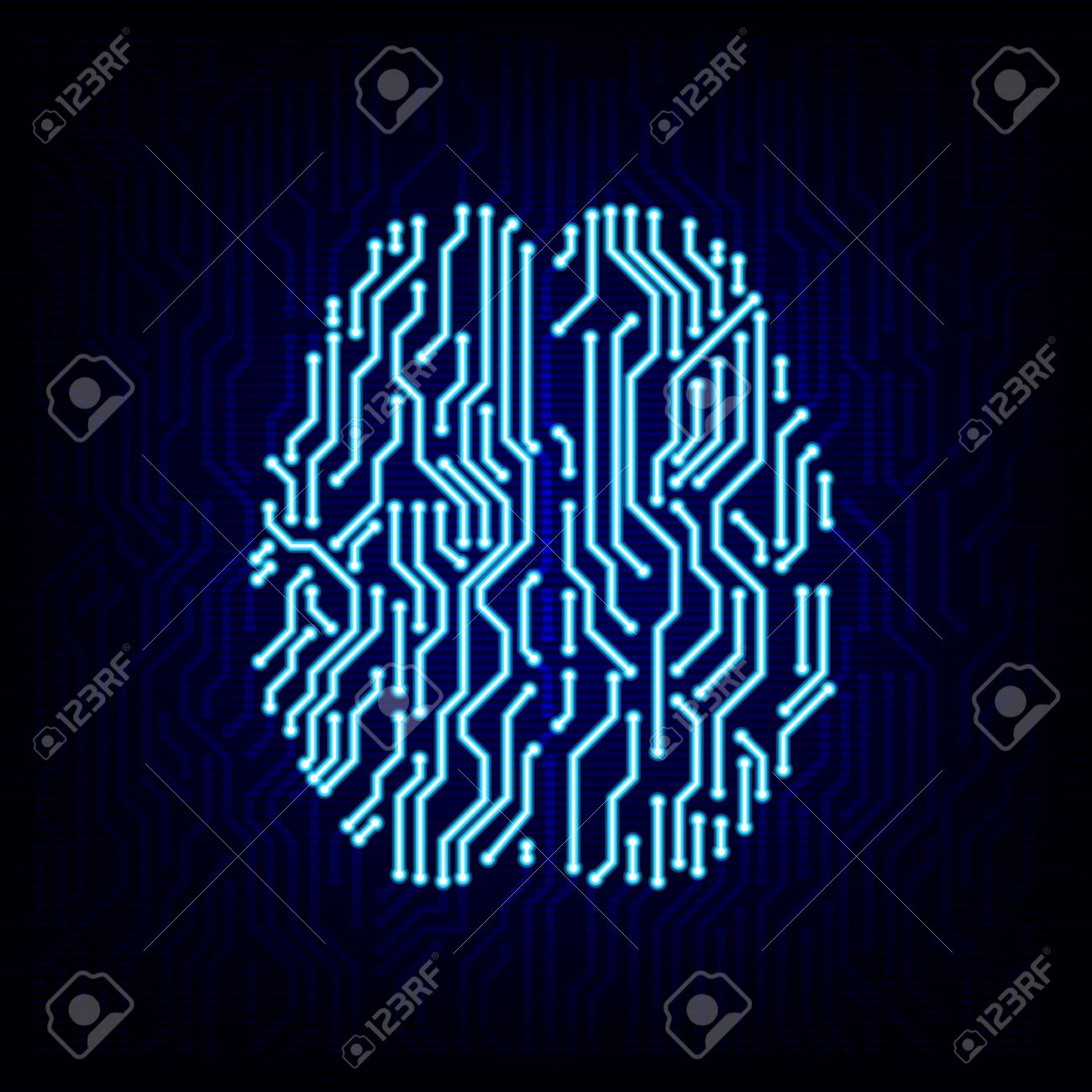 Artificial intelligence concept. Circuit board brain logo icon on the digital high tech style vector background. - 44482184