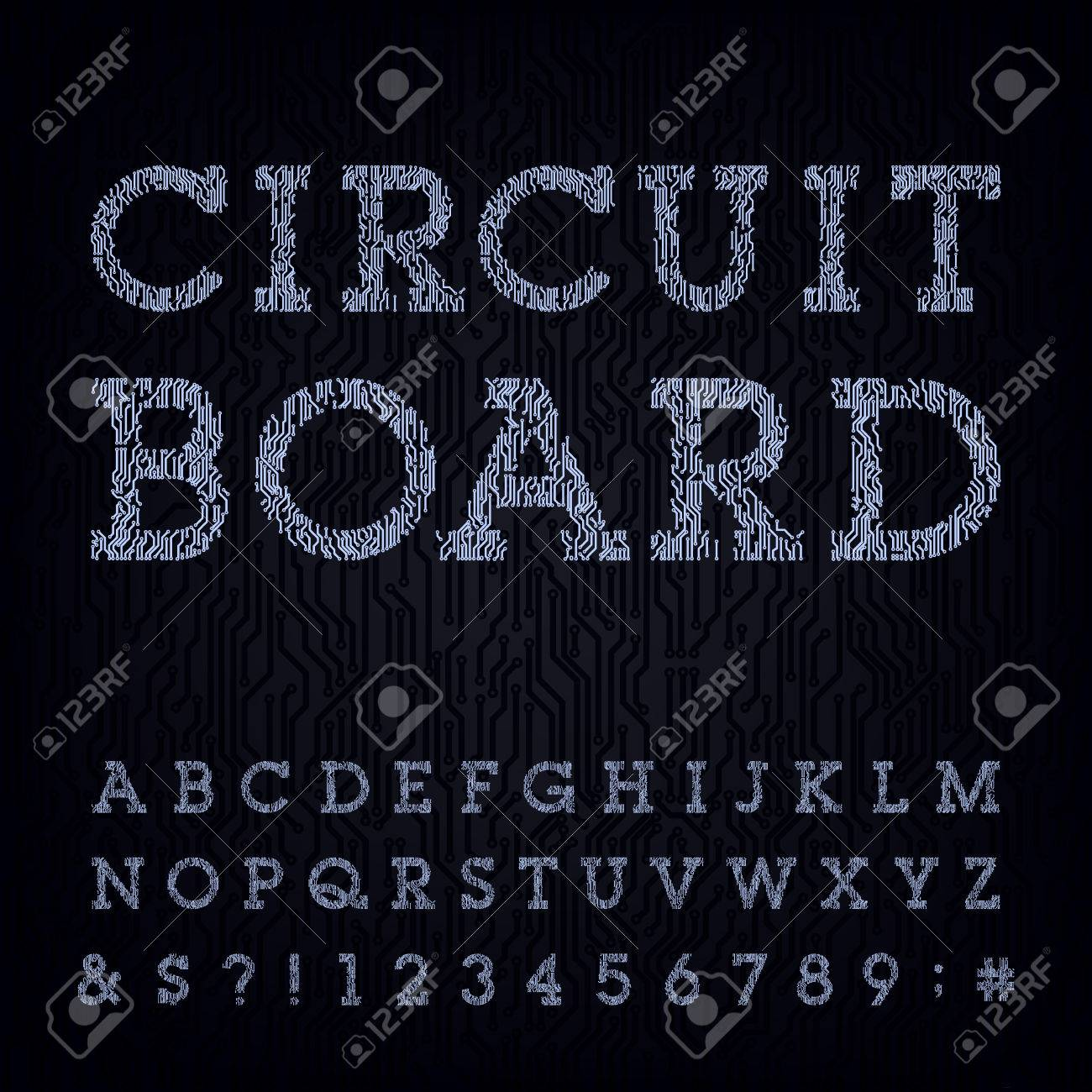 Circuit board type font  Vector Alphabet  Digital high-tech style