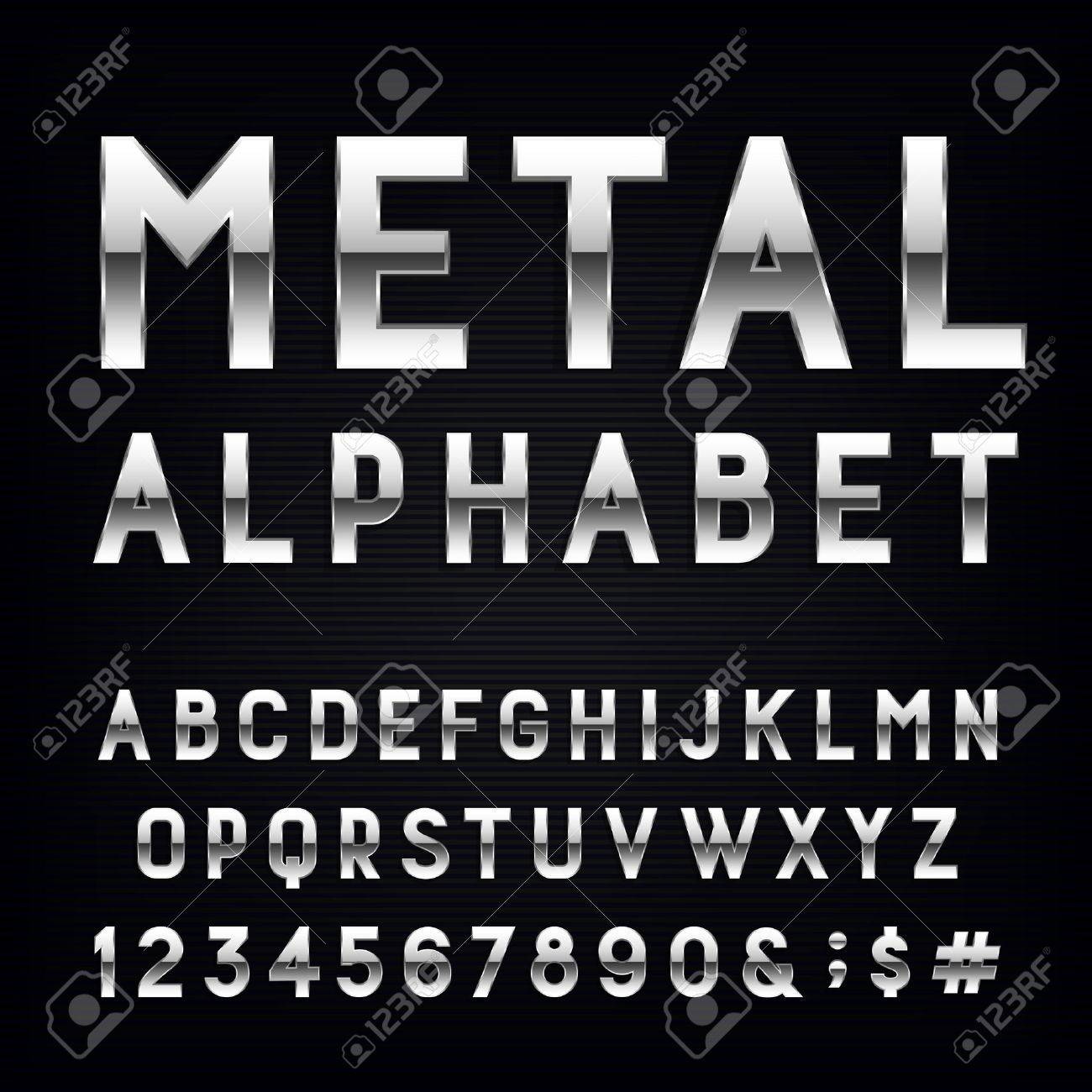 Metal Alphabet Vector Font. Type letters, numbers and punctuation marks. Chrome effect letters on dark background. Vector typeset for headlines, posters etc. - 45732568