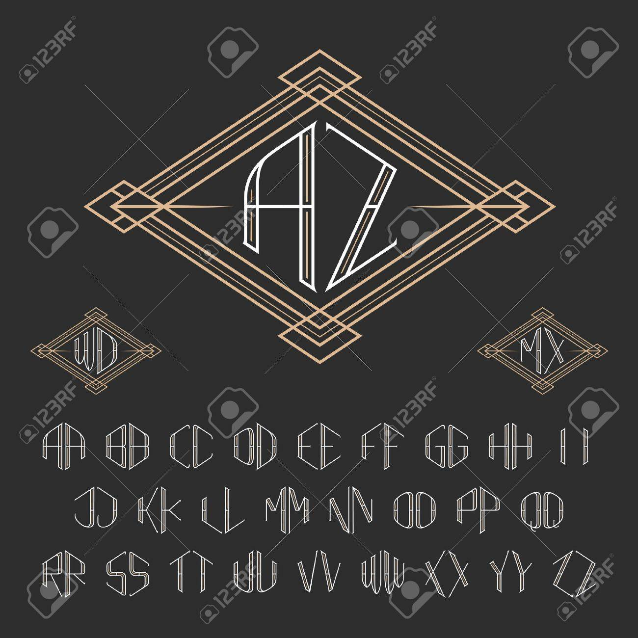 Monogram Template | Two Letters Decorative Monogram Template Elegant Vector Set