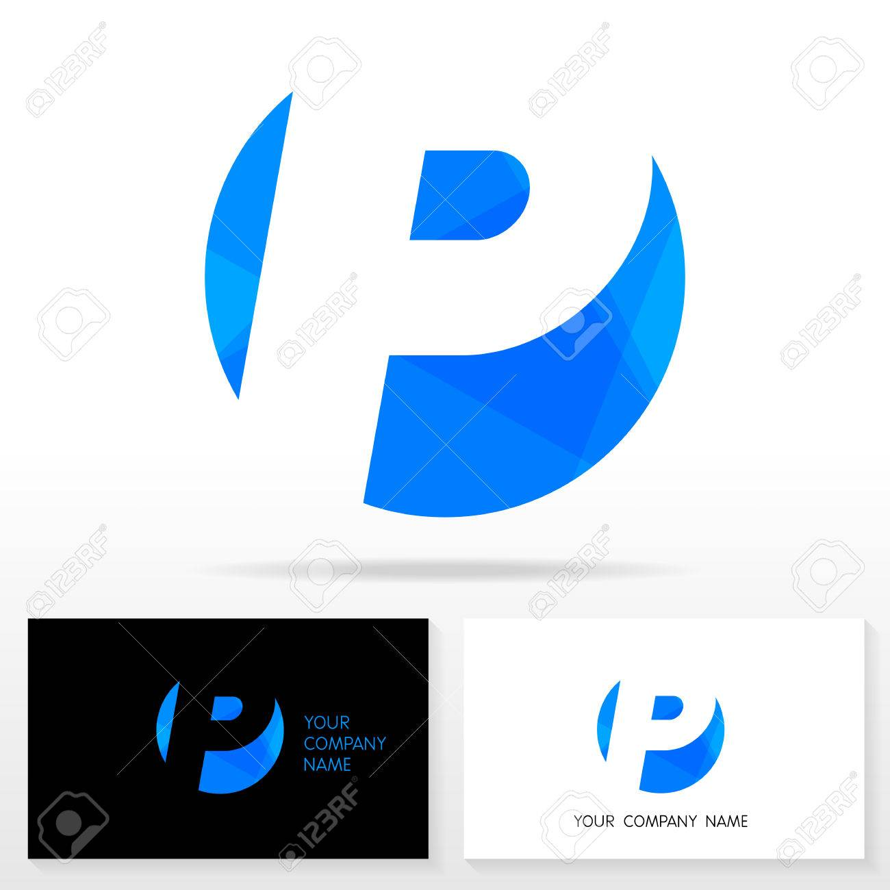 Letter P Logo Design Vector Sign Business Card Templates Royalty