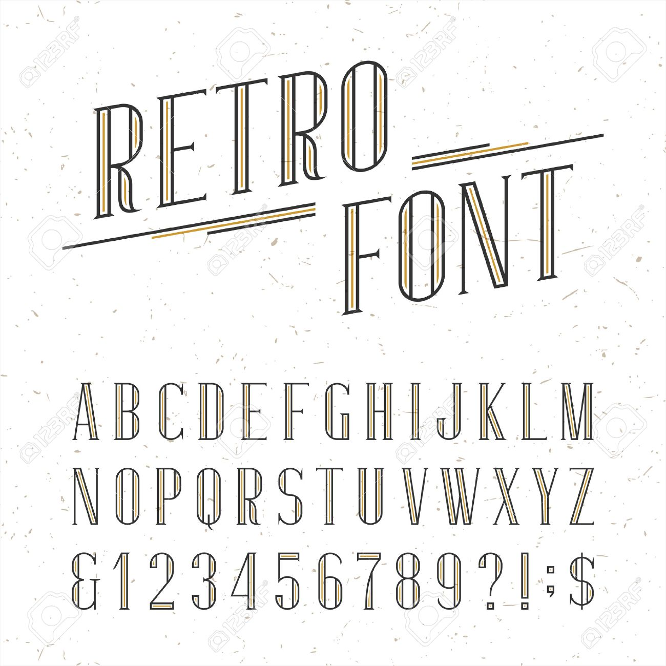 Decorative retro alphabet vector font. Serif type letters, numbers and symbols on the white background with distressed overlay texture. Stock vector typography for labels, headlines, posters etc. - 48071528