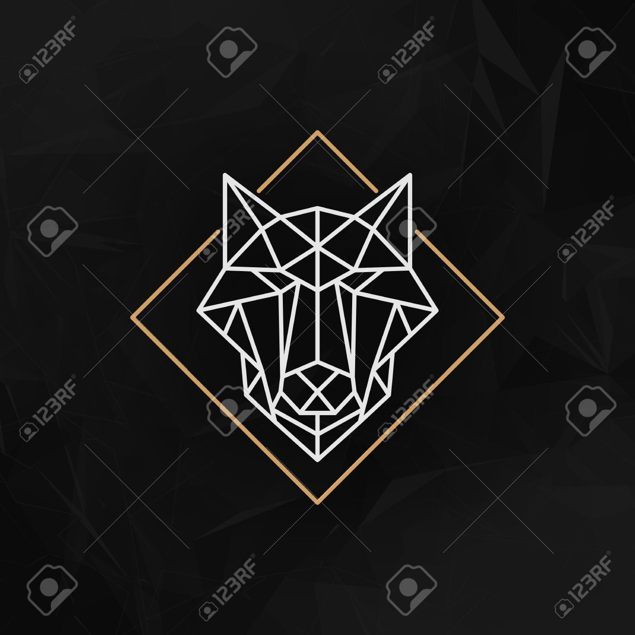 The wolf head Icon - Vector illustration. The wolf head in outline low poly style on the dark abstract geometric background. - 48052627