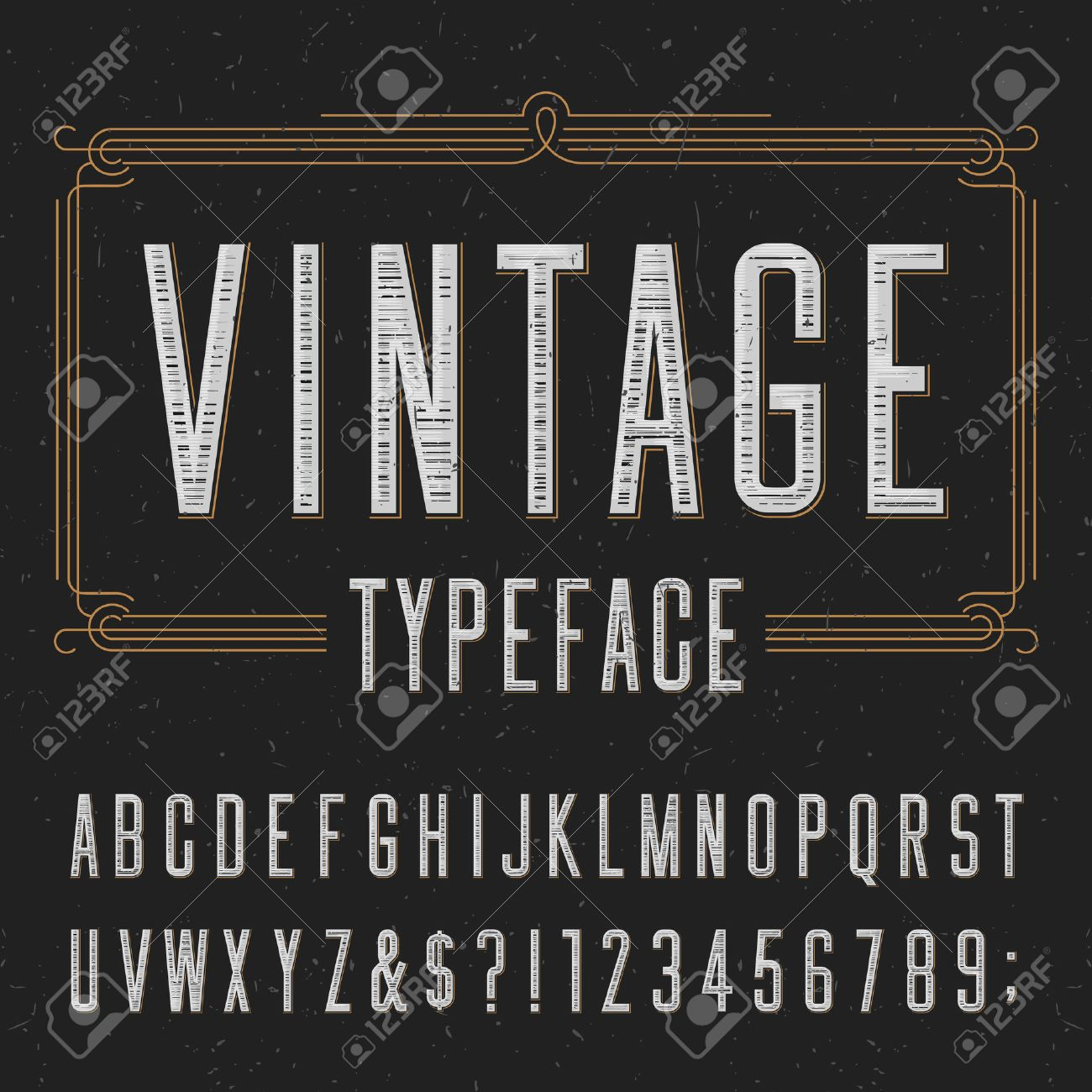 Vintage typeface with scratched overlay texture. Type letters, numbers and symbols on a dark background. Alphabet vector font for labels, headlines, posters etc. - 48931061