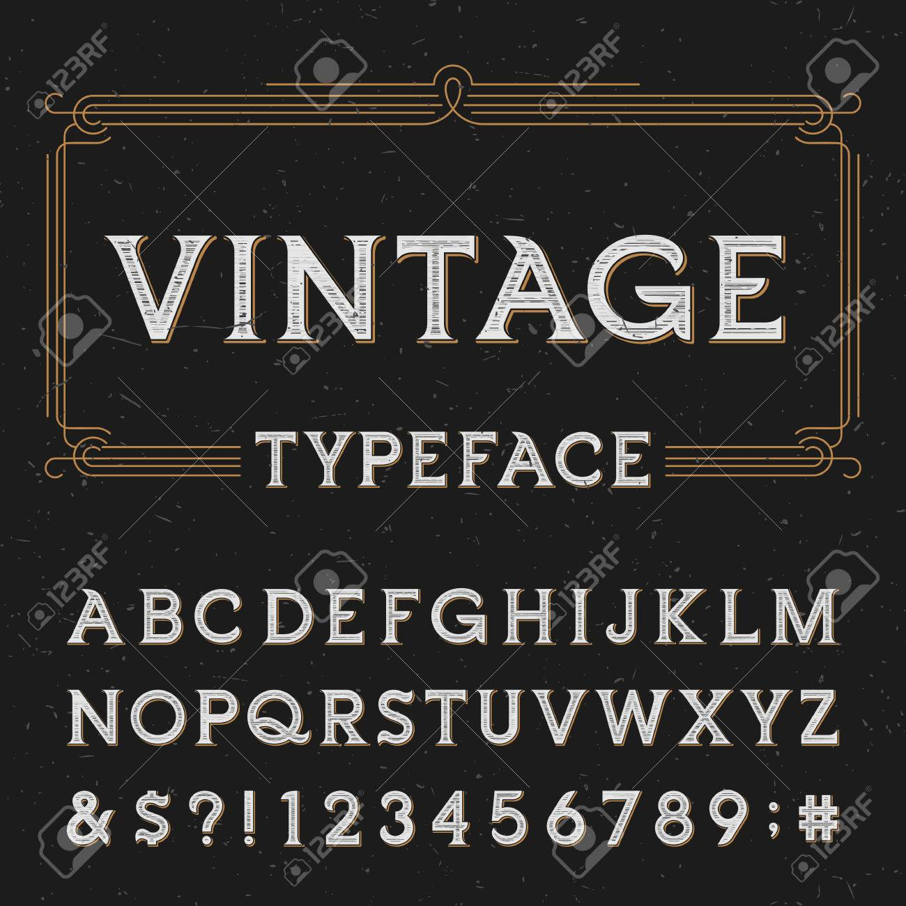 Vintage vector typeface. Type letters, numbers and symbols on a dark distressed background. Alphabet font for labels, headlines, posters etc. - 48351846