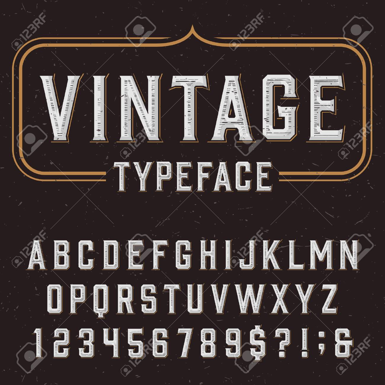 Retro vector typeface. Type letters, numbers and symbols on a dark distressed background. Alphabet font for labels, headlines, posters etc. - 49126614