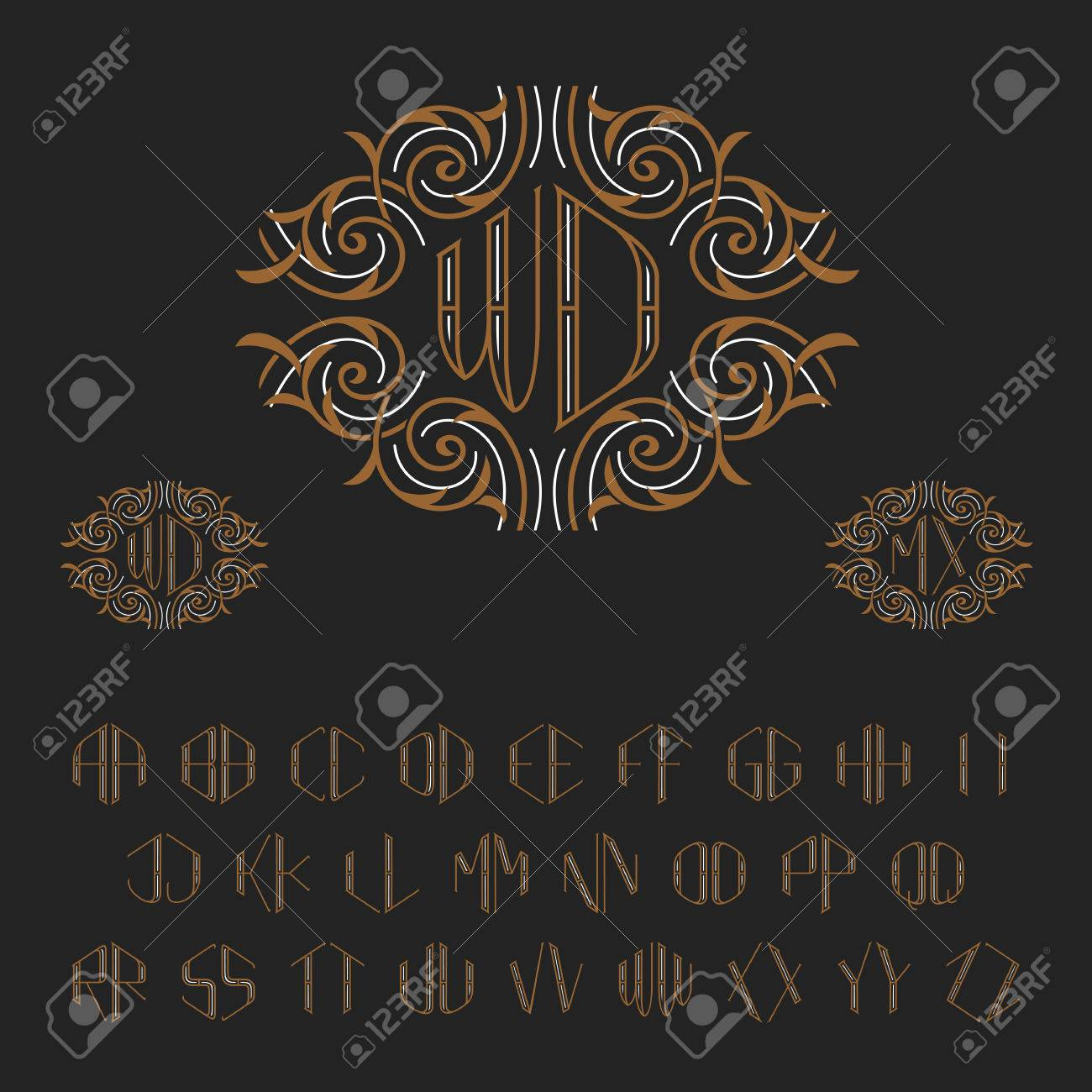 Template for two letters monogram set of vector letters from template for two letters monogram set of vector letters from a to z luxury spiritdancerdesigns Gallery