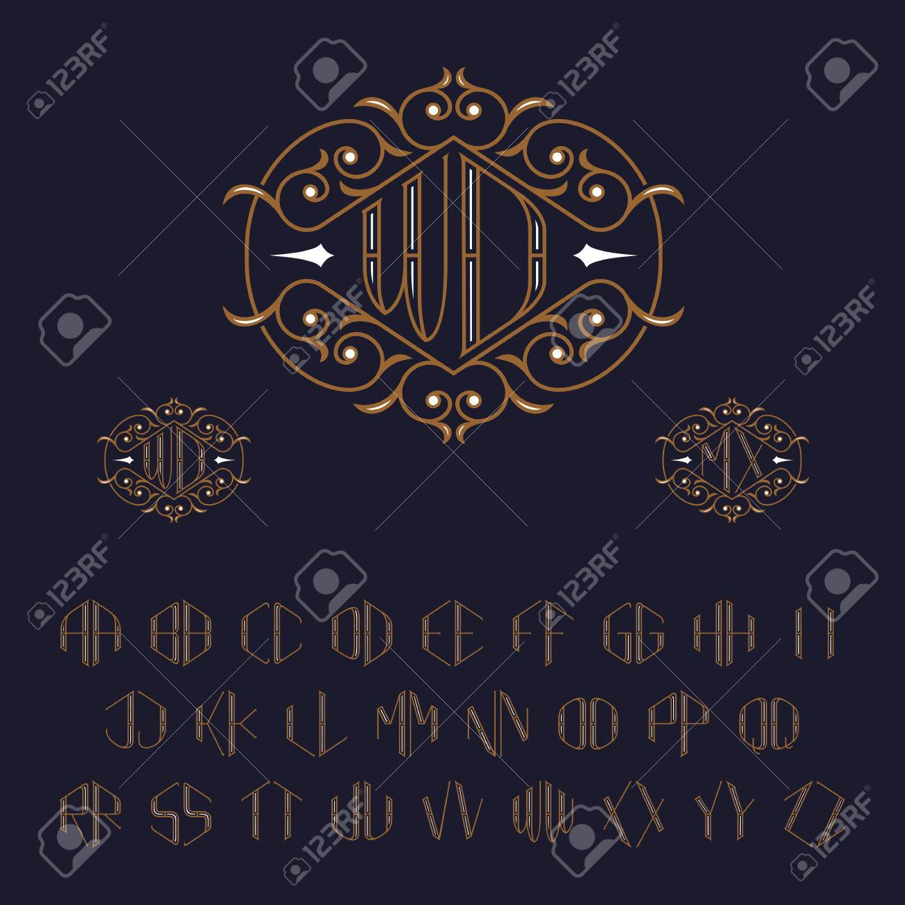 Two letters monogram template set of letters from a to z luxury two letters monogram template set of letters from a to z luxury vector set spiritdancerdesigns Gallery