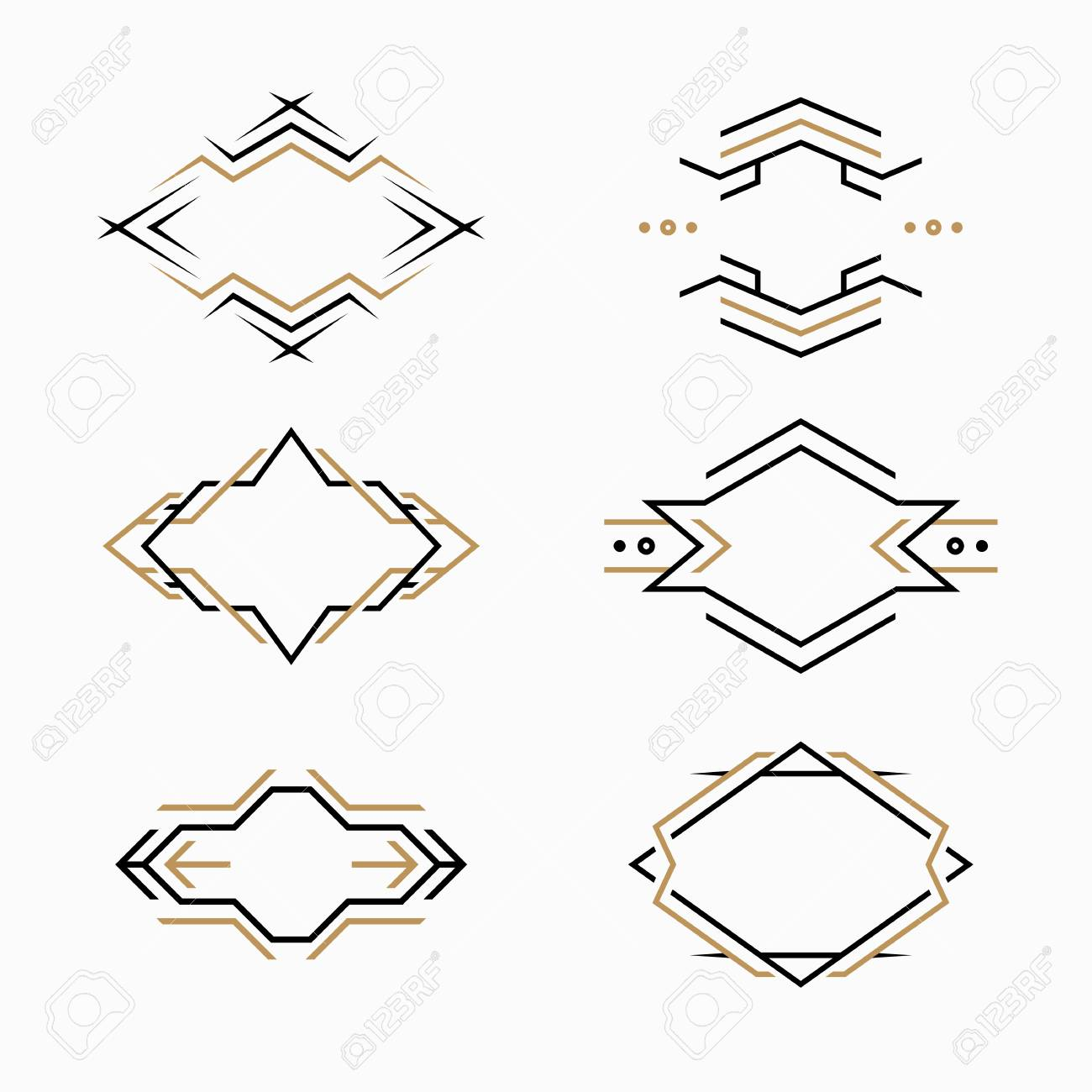 the set of hipster logo emblem templates vector frames in modern