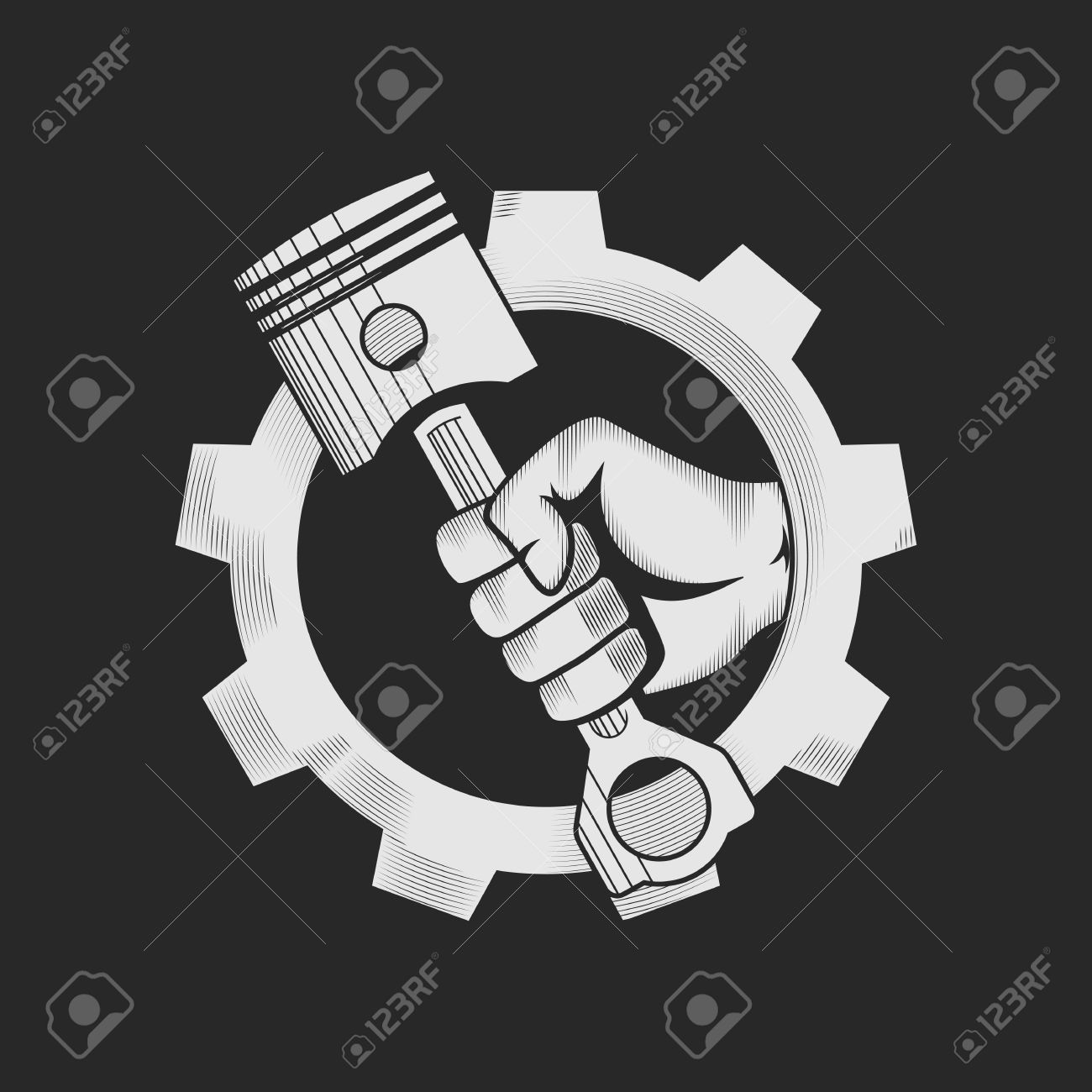Car or bike workshop logo template concept. Car engine pistons in the hand and gear combined in vector sign. Vector illustration. - 49852432