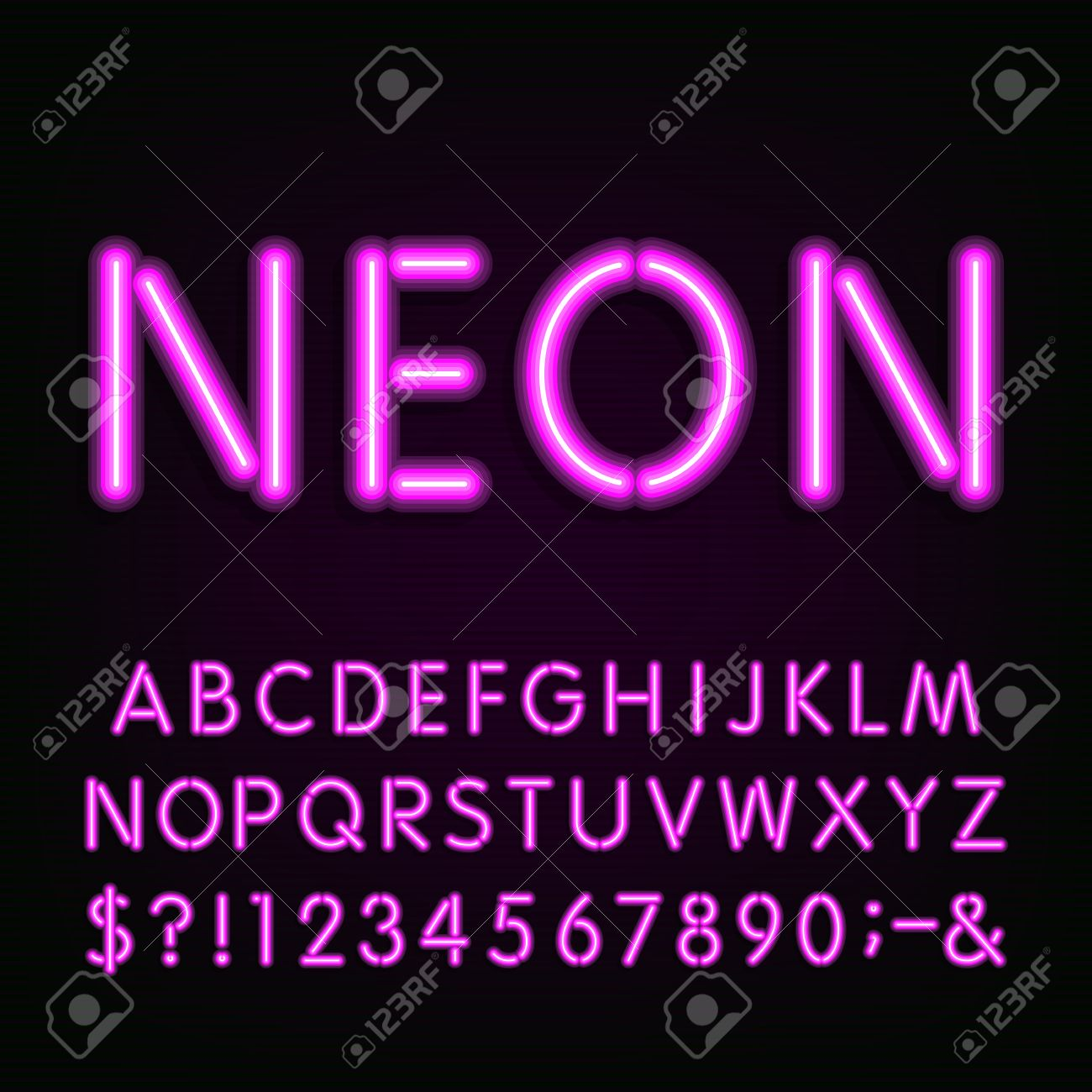Neon Light Alphabet Font. Type letters, numbers and symbols. Purple neon tube letters on the dark background. Vector typeface for labels, titles, posters etc. - 49852434