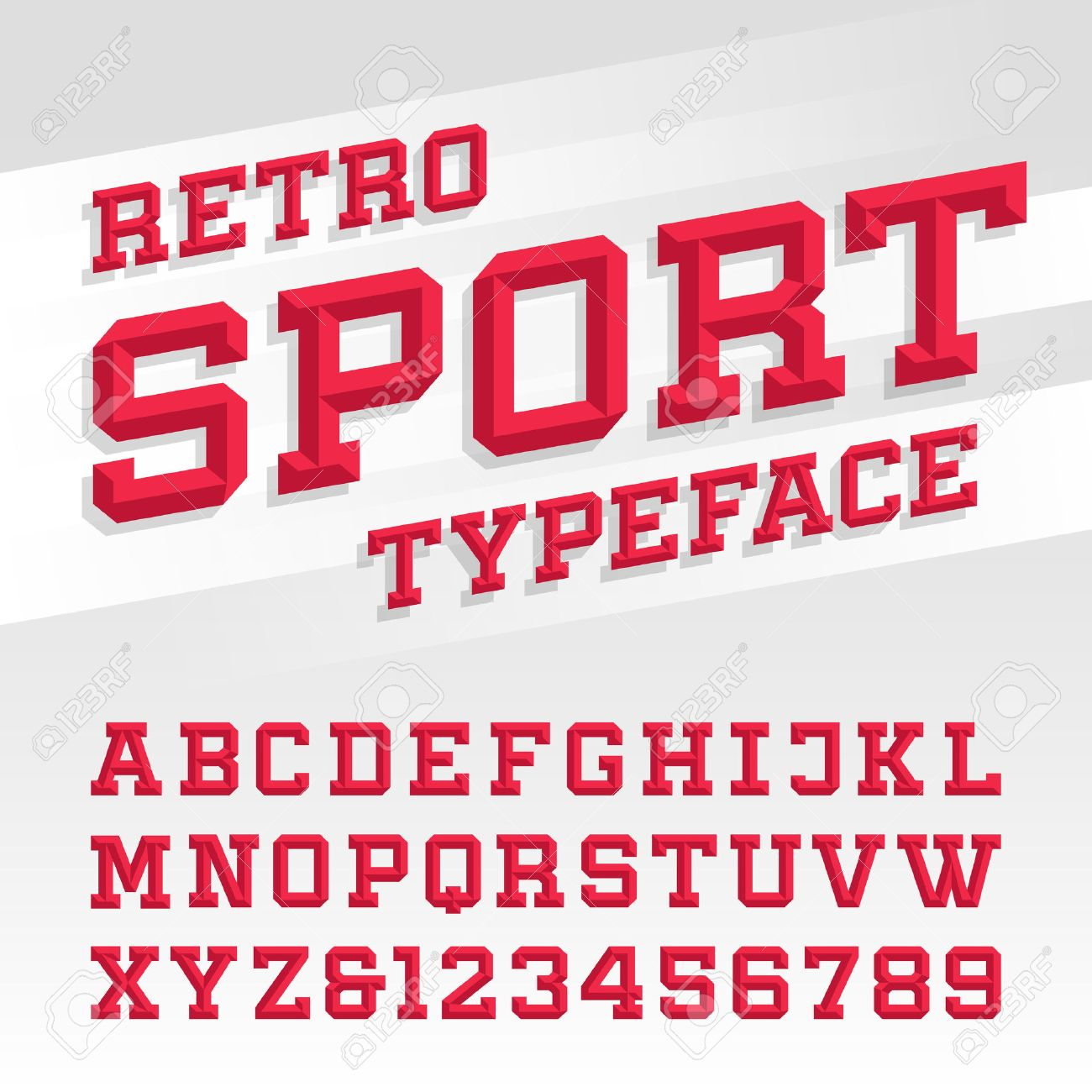 Beveled Alphabet Vector Font Retro Sport Style Typeface For Labels Titles Posters Or