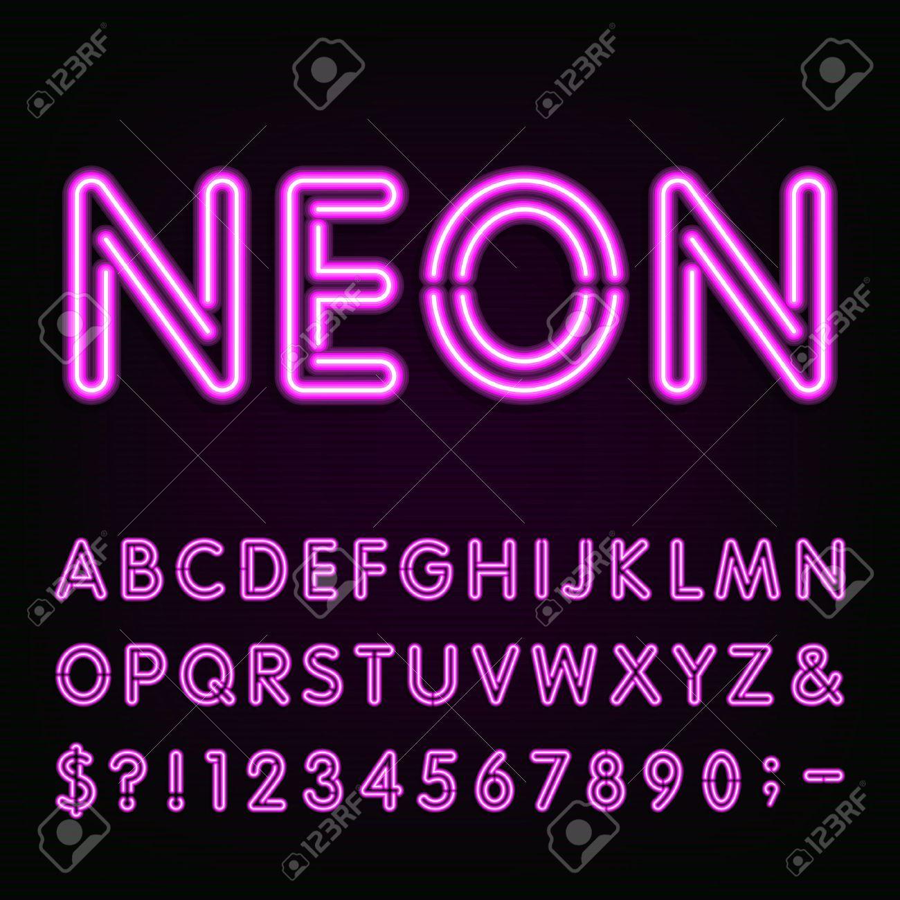 Purple neon light alphabet font neon effect letters numbers purple neon light alphabet font neon effect letters numbers and symbols on the dark altavistaventures Gallery