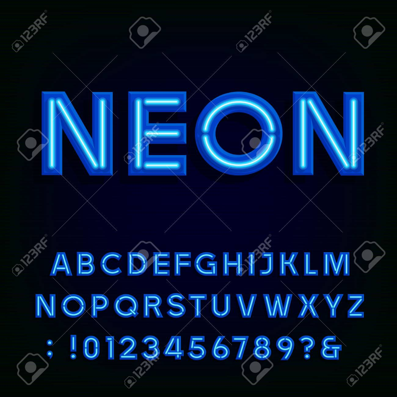Blue neon light alphabet font. Neon tube effect letters and numbers on the dark background. typography for labels, titles, posters etc. - 50642986