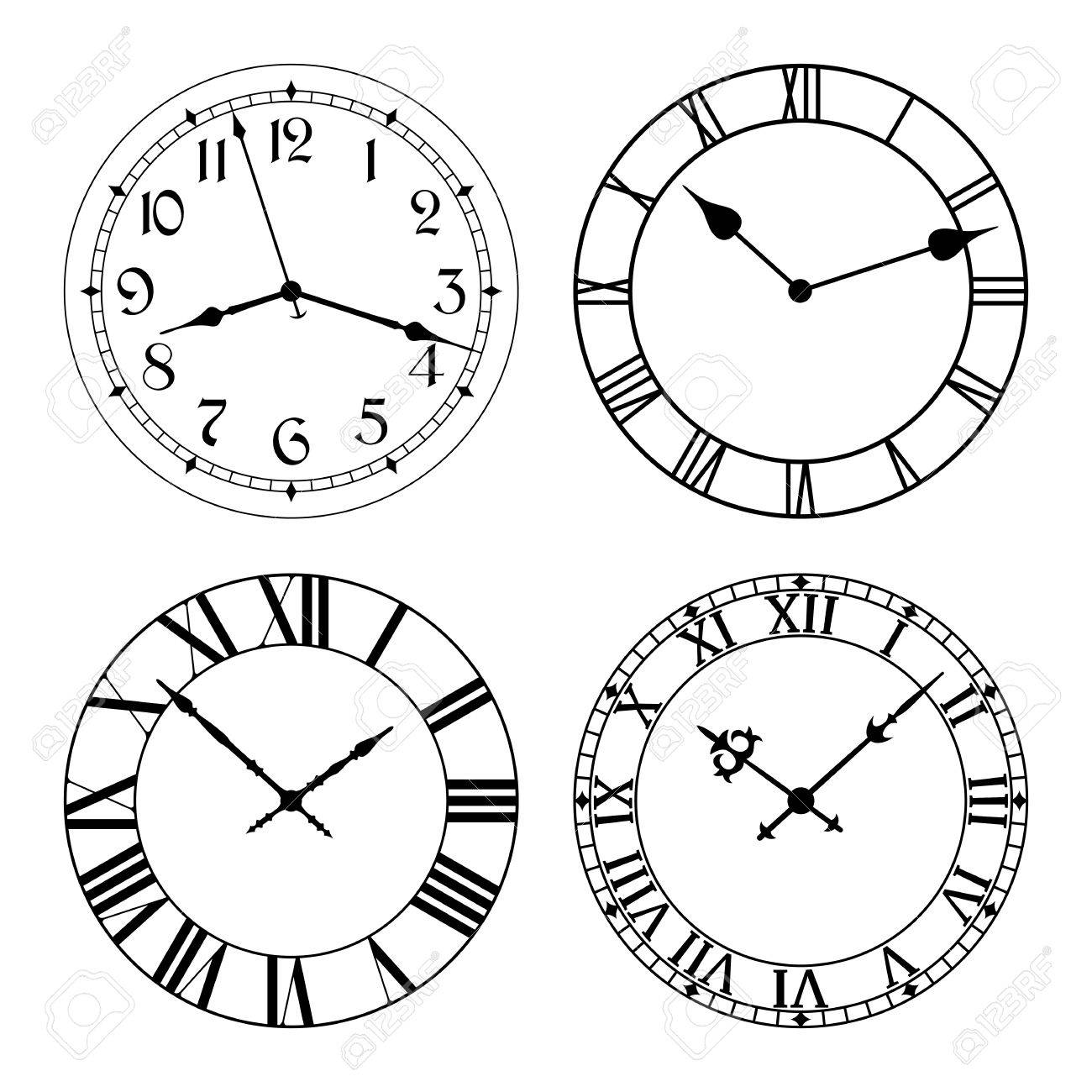 The set of different clock faces. Editable Clock, easily remove and replace hands and design. - 50643534