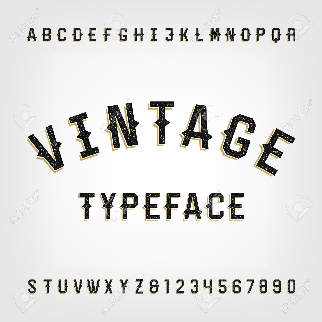 Western Style Retro Distressed Alphabet Font Letters And Numbers