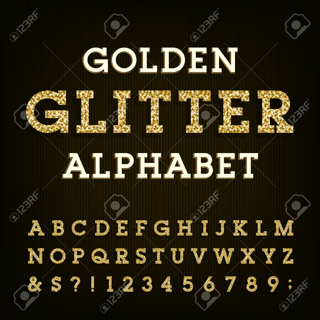 Golden glitter alphabet vector font. Letters, numbers and symbols.Vector typography for labels, headlines, posters etc. - 51270777