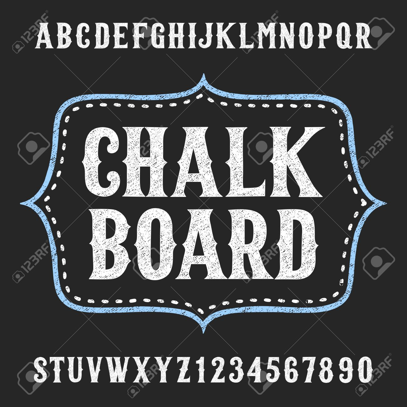 chalkboard alphabet vector font hand drawn letters and numbers