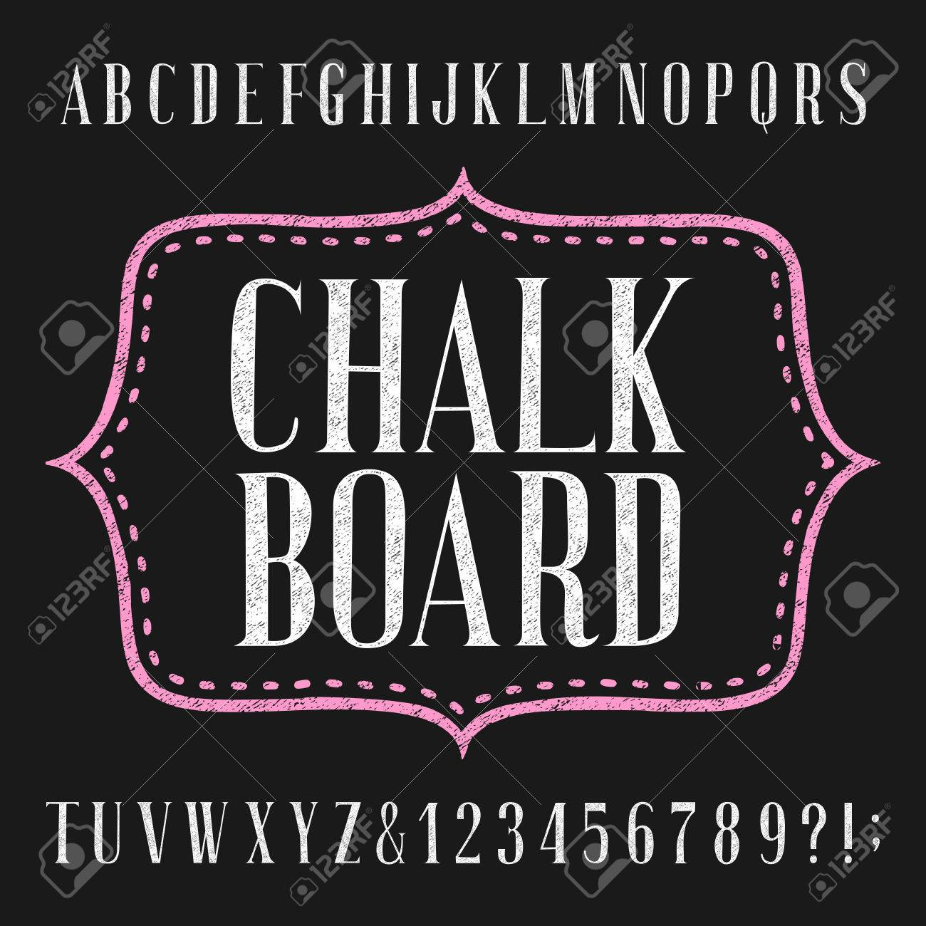 Chalkboard Alphabet Vector Font Hand Drawn Letters Numbers And Symbols Typography For
