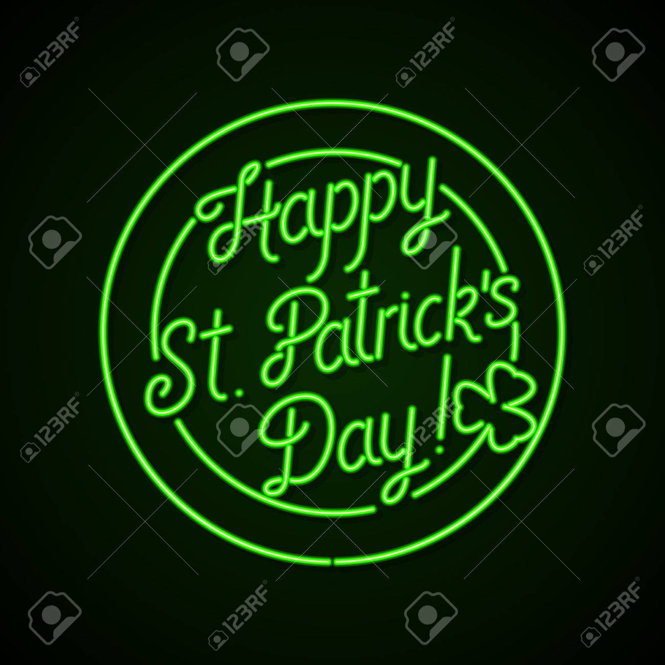 2110325c Glowing neon sign - Happy St. Patrick's Day lettering with shamrock on a  dark green
