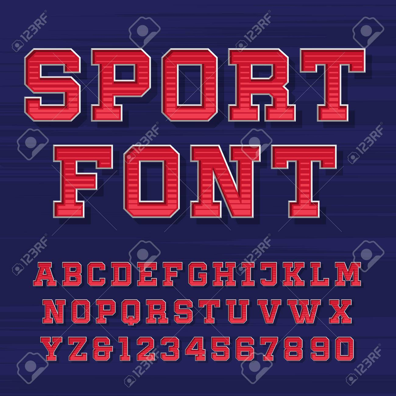 Sport alphabet vector font. Retro style typeface for labels, titles, posters or sportswear. Type letters and numbers on the dark background. - 52578614