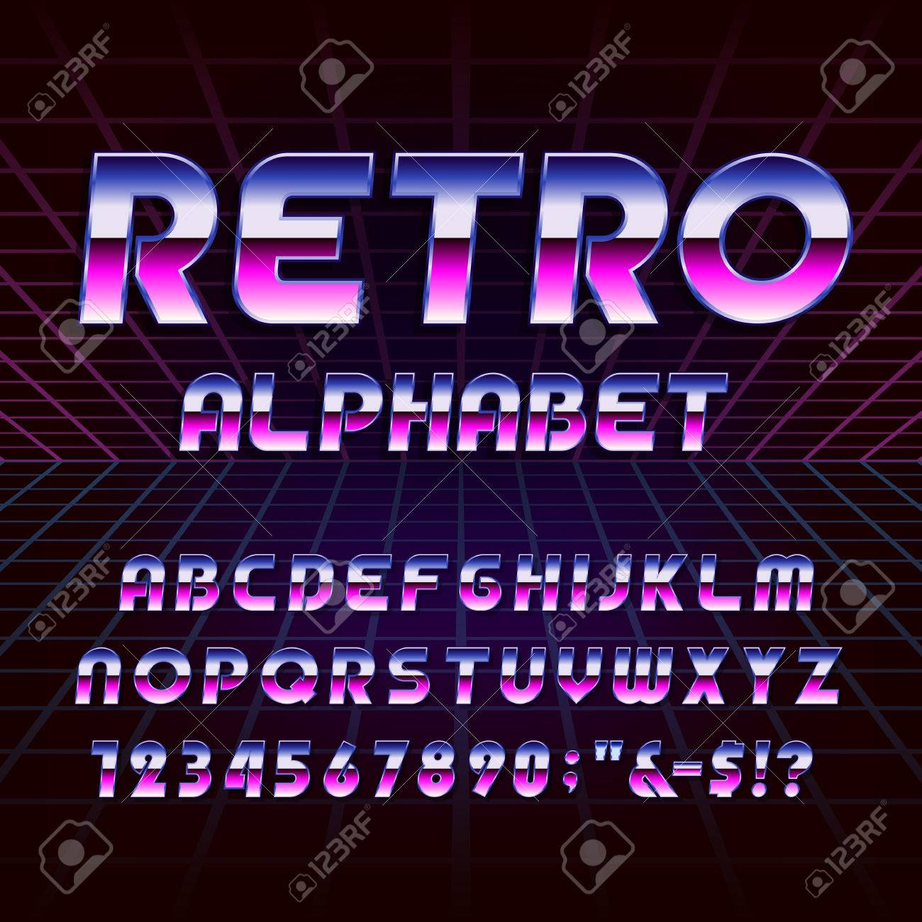 80's retro alphabet vector font. Metallic effect letters and numbers on the 80's style background. Vector typography for flyers, headlines, posters etc. - 52897949