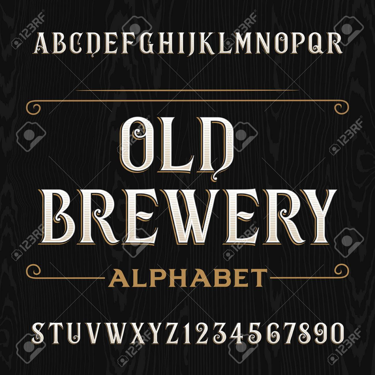 Old brewery alphabet vector font. Type letters and numbers on the dark wooden background. Vintage vector typography for labels, headlines, posters etc. - 53145294