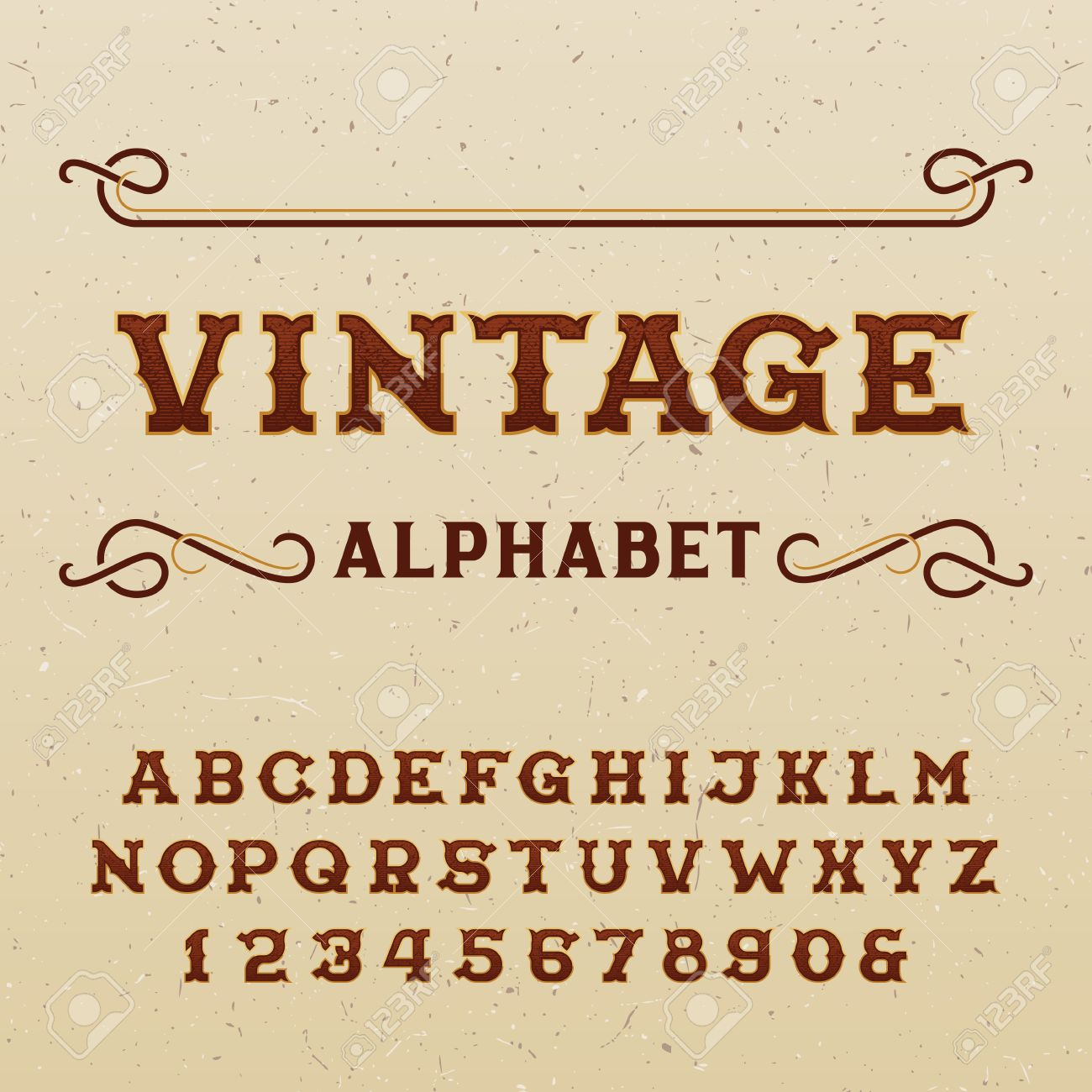 Vintage Alphabet Vector Font Type Letters And Numbers In Western