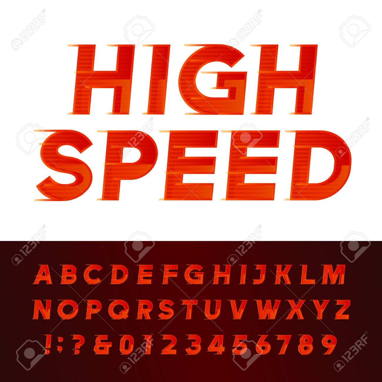 High Speed Alphabet Font Motion Effect Letters And Numbers Typography For Headlines Posters