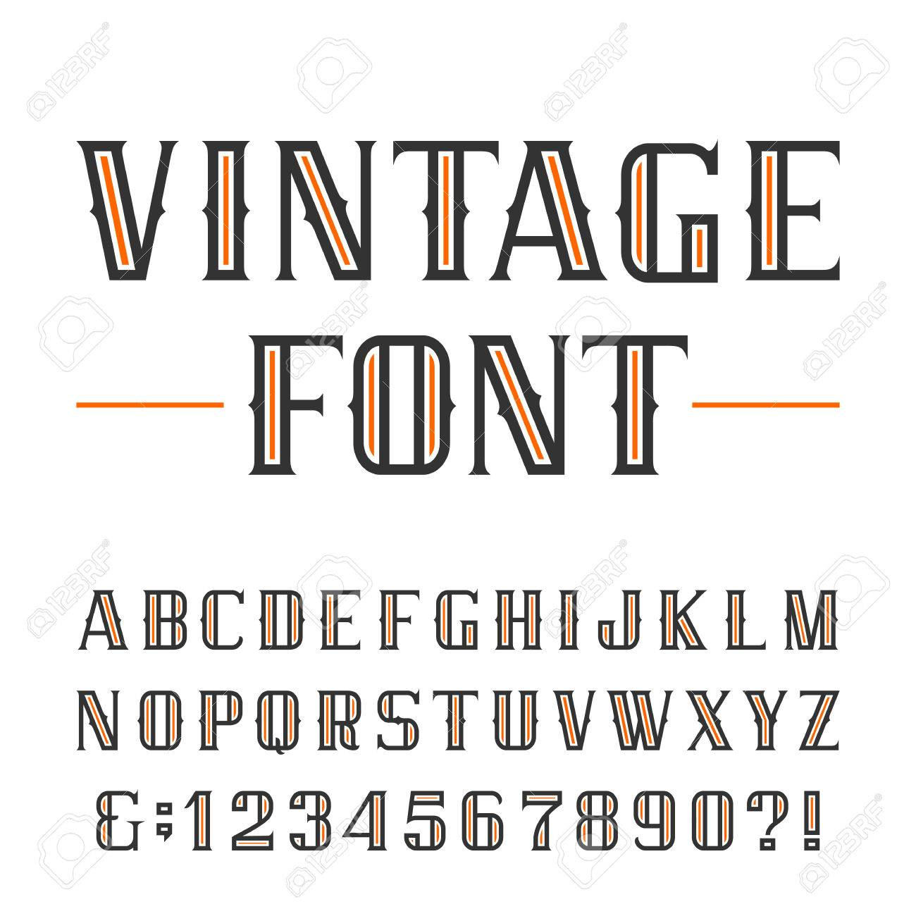 Vintage Alphabet Font Type Letters And Numbers On A White