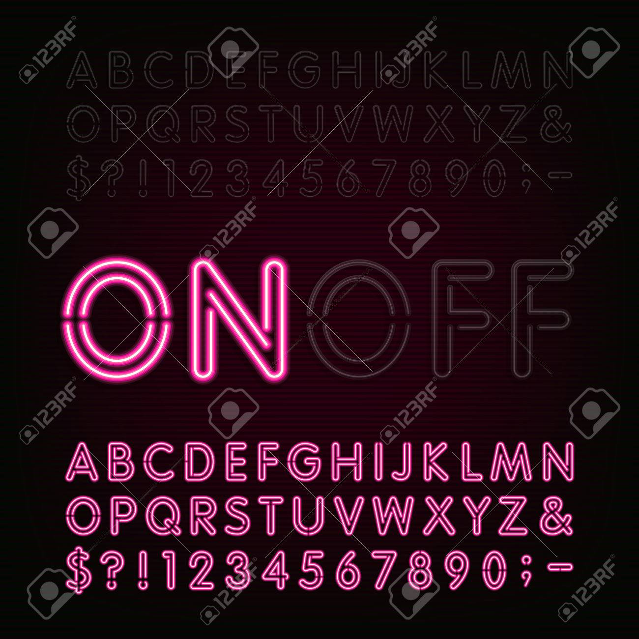 Neon Light Alphabet Font. Two different styles. Lights on or off. Type letters, numbers and symbols. Red neon tube letters on a dark background. typeface for animation, labels, titles, posters etc. - 53799470