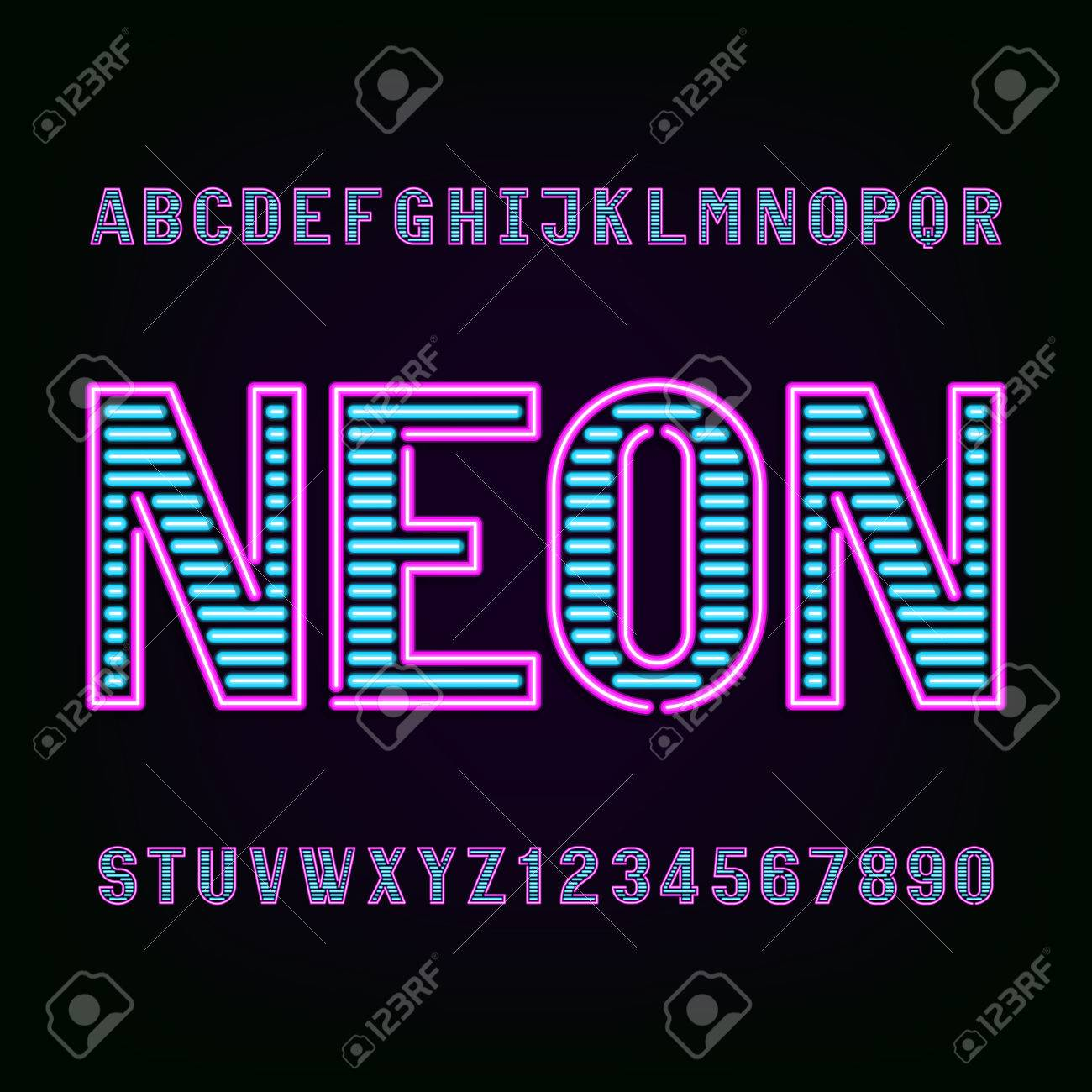 Neon tube light alphabet font  Type letters and numbers on a